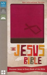 NIV The Jesus Bible: Discover Jesus in Every Book of the Bible, Italian Duo-Tone, Hot Pink/Chocolate