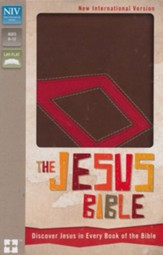 NIV The Jesus Bible: Discover Jesus in Every Book of the Bible, Italian Duo-Tone, Chocolate/Red