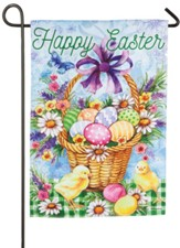 Happy Easter, Egg Basket, Suede Flag, Small