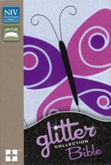 NIV Glitter Bible Collection Purple Butterfly, Flex cover