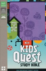 NIrV Kids' Quest Study Bible--soft leather-look, lavender - Imperfectly Imprinted Bibles