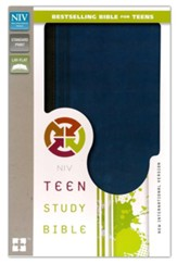 Teen Study Bible, NIV, Italian Duo-Tone, Graphite/Mediterranean Blue - Imperfectly Imprinted Bibles