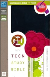 NIV Teen Study Bible, Italian Duo-Tone, Black Licorice/Hot Pink - Slightly Imperfect