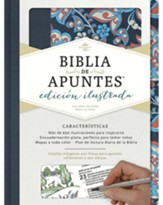RVR 1960 Biblia de Apuntes Ed. Ilustrada, Tela Rosada y Azul (Notetaking Bible Illustrated Ed. Pink & Blue Cloth over Board)