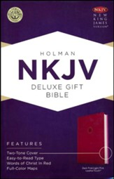 NKJV Deluxe Gift Bible, Pink LeatherTouch - Imperfectly Imprinted Bibles