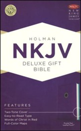 NKJV Deluxe Gift Bible, Purple LeatherTouch