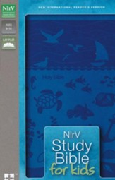 NIrV Study Bible for Kids--soft leather-look, blue with underwater design