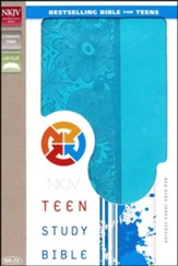 NKJV Teen Study Bible--soft leather-look, Caribbean blue