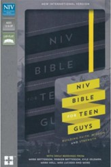 NIV Bible for Teen Guys--soft leather-look, charcoal with elastic closure