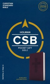 CSB Pocket Gift Bible, Burgundy LeatherTouch - Slightly Imperfect