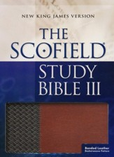 NKJV, Scofield Study Bible III, Basketweave bonded leather, brown/tan, thumb-indexed - Slightly Imperfect