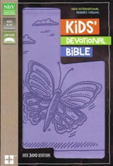 NIrV Kids Devotional Bible, Lavender Butterfly - Slightly Imperfect
