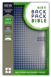 NIrV Backpack Bible--soft  leather-look, blue/silver