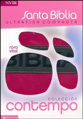 Biblia Ultrafina Compacta NVI, Rosa Vital, Piel Imit.  (NVI Compact Thinline Bible, DuoTone Leather, Pink/Charcoal)