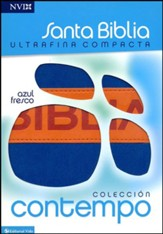 NVI Santa Biblia, ultrafina compacta, colleccion contempo, Italian Duo-Tone, Blue/Orange - Slightly Imperfect