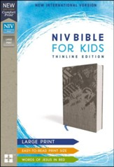 NIV Comfort Print Bible for Kids, Large Print, Cloth over Board, Gray - Slightly Imperfect