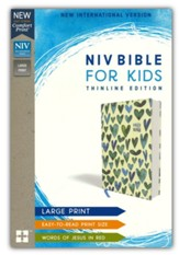 NIV Comfort Print Bible for Kids, Large Print, Cloth over Board, Turquoise Hearts - Imperfectly Imprinted Bibles