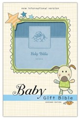 NIV Baby Gift Holy Bible, Leathersoft, Blue, Comfort Print - Imperfectly Imprinted Bibles