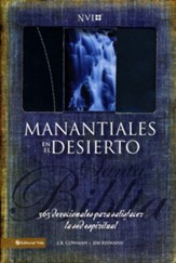 Biblia NVI Manantiales En El Desierto, Piel Imit. Negra/Azul  (Streams in the Desert NVI Bible, Imit. Leather, Black/Blue)