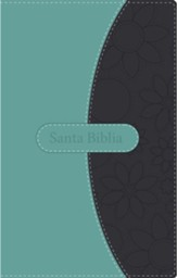 NVI Thinline Bible--soft leather-look, teal/gray
