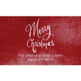 Christmas Scripture Cards, Merry Christmas, Isaiah 9:6, Pack of 25