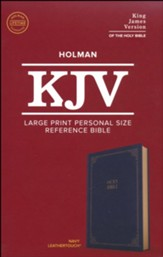 KJV Large-Print Personal Size  Reference Bible--soft leather-look, navy