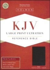 KJV Large Print Ultrathin Reference Bible, Premium Black Genuine Leather, Black Letter Edition, Thumb-Indexed