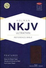 NKJV Ultrathin Reference Bible, Brown Genuine Leather, Thumb-Indexed