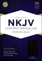 NKJV Large Print Personal Size Reference Bible, Brown Genuine Leather - Imperfectly Imprinted Bibles