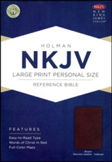 NKJV Large Print Personal Size Reference Bible, Brown Genuine Leather, Thumb-Indexed - Imperfectly Imprinted Bibles