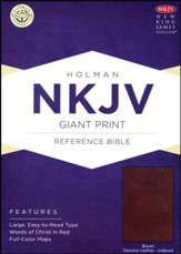 NKJV Giant Print Reference Bible, Brown Genuine Leather, Thumb-Indexed