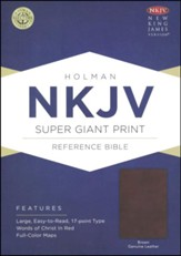 NKJV Super Giant Print Reference Bible, Brown Genuine Leather - Imperfectly Imprinted Bibles