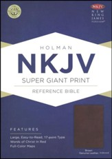 NKJV Super Giant Print Reference Bible, Brown Genuine Leather, Thumb-Indexed - Slightly Imperfect