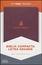 Biblia Compacta Letra Gde. RVR 1960, Piel Fab. Marron, Ind.  (RVR 1960 Lge.Print Compact Bible, Bon.Leather, Brown, Ind.) - Imperfectly Imprinted Bibles