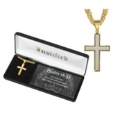 Men's Cross Necklace, Gold Plated