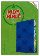 CSB Kids Bible--soft leather-look, blue with sports balls - Slightly Imperfect