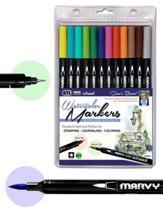 MARVY, LePlume II Double-Ended  Watercolor Markers, Basic Colors, Pack of 12