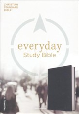 CSB Everyday Study Bible--soft leather-look, charcoal