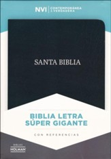 Biblia NVI Letra Super Gigante, Piel Fab. Negro, Ind.  (NVI Super Giant Print Bible, Bon. Leather, Black, Ind.)