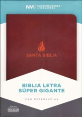 Biblia NVI Letra Super Gigante, Piel Fab. Marron, Ind.  (NVI Super Giant Print Bible, Bon. Leather, Brown, Ind.)