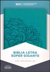 Biblia NVI Letra Super Gigante, Piel Simil Aqua  (NVI Super Giant-Print Bible, Imit. Leather, Aqua)
