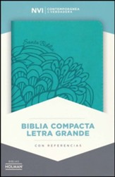 Biblia Compacta NVI Letra Grande, Piel Simil Aqua, Indice  (NVI Compact Large Print Bible, Imit. Leather Aqua, Ind.) - Slightly Imperfect