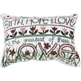 Faith, Hope & Love, Tapestry Word Pillow