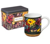 Give Thanks Flowers, Recipe Tin with Cards & Mug