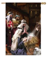 Nativity Scene Satin Flag, Large