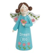 Dream Big Angel Holding Bird, Blue