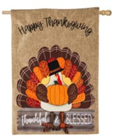 Thankful & Blessed, Turkey Burlap Flag, Large