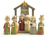 Nativity, Holy Family with Creche, Figurine 5 Pieces