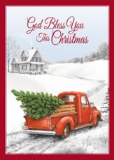 Red Truck Christmas Card with Magnet, Set of 18