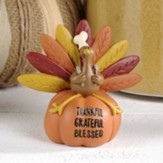 Thankful Grateful Blessed, Turkey Sitting on Pumpkin, Figurine